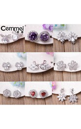 Stylish Temperament Earrings Zircon Bows Pearl Studs Female 925 Silver Needle Simple Earrings