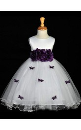 A-line Princess Scoop Hand-made Flower Sleeveless Floor-length Organza Flower Girl Dresses