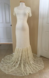 Elegant Mermaid Scoop Neckline Lace Maternity Wedding Dress