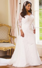 Long-Sleeve Floor-Length V-Neck Lace Plus Size Wedding Dress With Appliques And Illusion