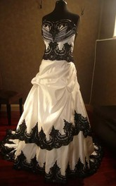 A-Line Straps Taffeta Lace Floor-length Chapel Train Sleeveless Wedding Dress with Corset Back