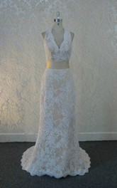 Scalloped Sleeveless Sheath Lace Wedding Dress With Sash And Keyhole Back