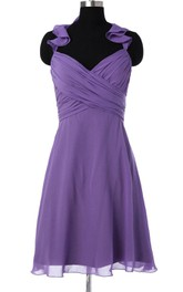 Purple Bridesmaid Short Chiffon Convertible Prom Hanging Neck Bridesmaid Dress