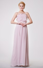 Classic Pleated A-line Chiffon Long Dress With Draped Bodice