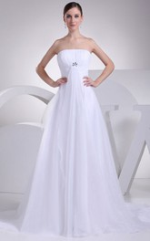Intricate Strapless Tulle A-Line Dress With Ruching and Broach