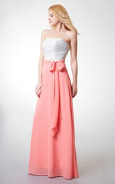 Strapless A-line Ruched Long Chiffon Gown With Sash