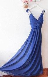 Long Chiffon Royal Blue Sexy Prom Dresses With Low Back And Sequin