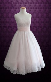 Mini Tea-Length Strapped Tulle Lace Satin Weddig Dress