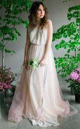 A-Line Jewel Sleeveless Tulle Dress With Illusion Top