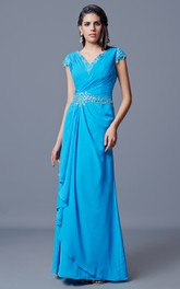 Sexy V-neckline Ruched Bodice Side-draped Beaded Chiffon Dress