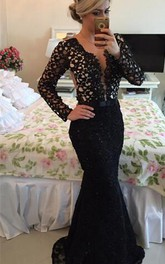 Newest V-neck Black Lace Mermaid Prom Dress 2018 Long Sleeve