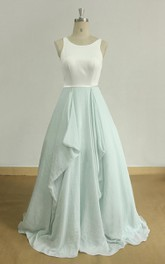 Open Back A Line Boho Wedding With Mint Skirt And Ivory Top Dress