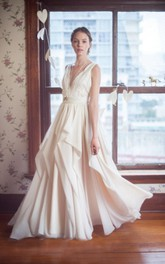 V-Neck Sleeveless Long Chiffon Wedding Dress With Lace Bodice