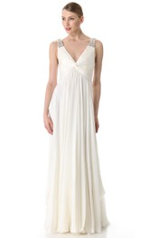 Deep-V Neckline Empire Chiffon Floor-length Dress With Broad Straps
