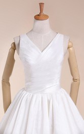 V-Neck Sleeveless A-Line Tea-Length Satin Wedding Dress