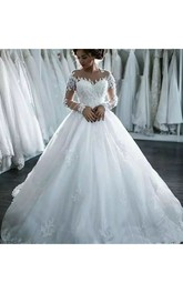 A-Line Ball Gown Jewel Sleeveless Lace Tulle Wedding Dress
