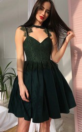A-line High Neck V-neck Sleeveless Lace Pleats Ruching Short Mini Chiffon Lace Homecoming Dress