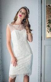 Short Lace Weddig Dress With Beading