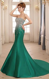 Strapless Beaded Bodice Mermaid Pleated Satin Gown