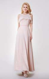 Strapless A-line Long Chiffon Dress With Removable Wrap
