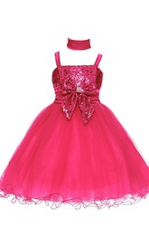 Sleeveless A-line Appliqued Organza Dress With Bow