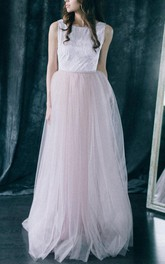 A-line Sleeveless Sleeve Backless Tulle&Lace&Satin Dress