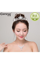 Bride Headdress Crown Korean Simple And Lovely Cute Pearl Pearl Necklace Set