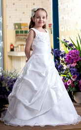 Square-Neck Appliqued Pick-Up Flower Girl Dress With Corset Back