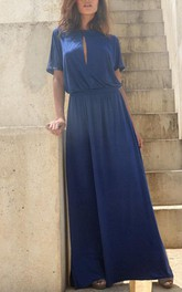 Fall Blue Bridesmaid With Slit Top Floor Length Bridesmaid Dress