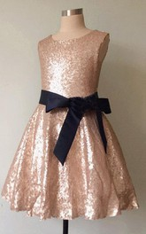 Strapped A-line Pleated Dress With Bow&Sequins