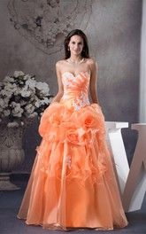 Sweetheart Ruffled Ball Gown with Flower and Appliques