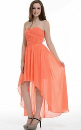 High-low Asymmetrical Sweetheart Chiffon Dress With Ruffles