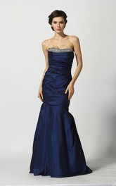 A-Line Sweetheart Sleeveless Floor-length Taffeta Prom Dress with Open Back and Beading