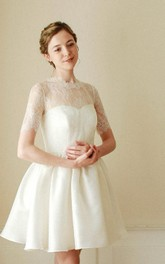 High-Neck Short A-Line Tutu Skirt With Lace Bodice