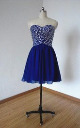 Mini Sweetheart Chiffon Dress With Beading