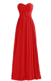 Basque Waist Long Chiffon Dress With Zipper Back