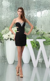 Sweetheart Body-Fitting Mini Dress with Ruching and Keyhole