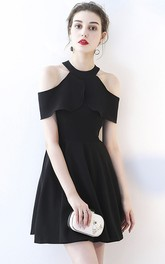 A-line Little Black Dress With Adorable Cap Sleeves And Ruching