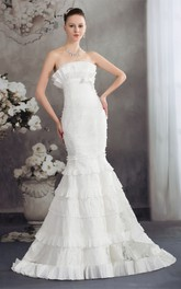 Strapless Ruched Appliqued Dress with Trumpet Silhouette