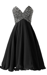 Sweetheart A-line Dress With Sequined Bodice