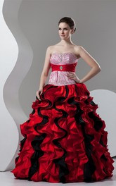 Mute-Color Ruffled Ball Dress with Broach and Stress