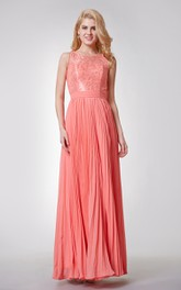 Lace Neckline A-line Long Pleated Chiffon Dress