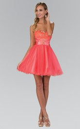 A-Line Mini Strapless Sleeveless Tulle Corset Back Dress With Beading And Lace