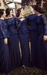 Elegant Long Sleeve Bridesmaid Dress With Lace Sweep Train