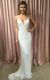 Sheath Spaghetti Straps Sweep Train White Sequined Prom Party Dress