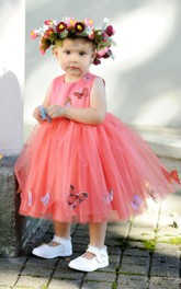 Sleeveless Pleated Tulle&Satin Dress With Beading&Flower
