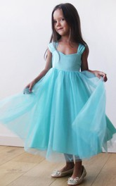 Cap Sleeve V-neck Pleated Tulle Dress With Bow