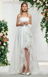 Lace Adorable Sleeveless High-low Wedding Dress With Sash And Bow