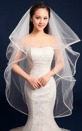 High-Grade Satin-Edge Four-Layer Puffed Fish Bone Multi-layer Veil