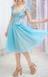 A-Line Short Cap Sleeve Dress With Flower Appliques